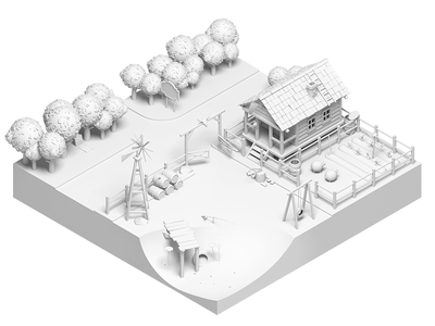 The Lonely Farm #2 wip village sheep rocketboy rboy isometric illustration house farm country 3d