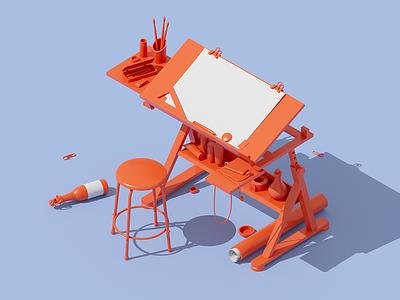 Painter brush paper sculpture modeling c4d workspace 3d