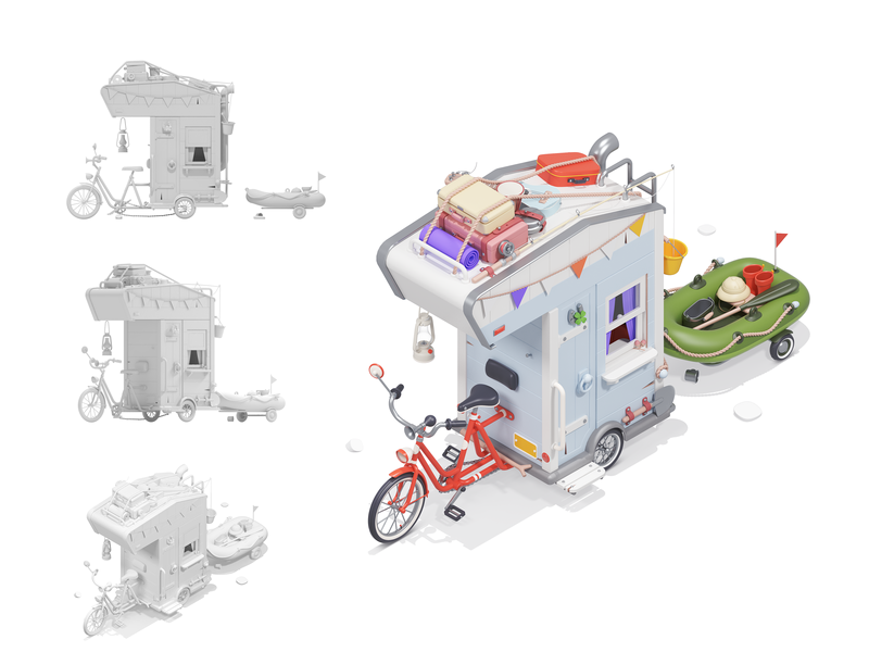 Time to travel suitcases relaxation stone bicycle illustration modeling rocketboy rboy c4d 3d