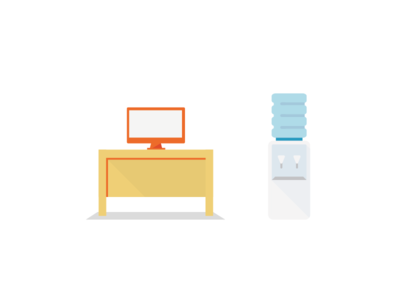 Office Icons watercooler computer desk office design icon