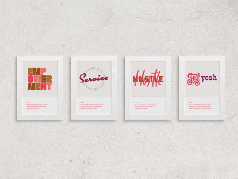 poster series office decor typography fuck yeah hustle service empowerment prefer wall art posters company values
