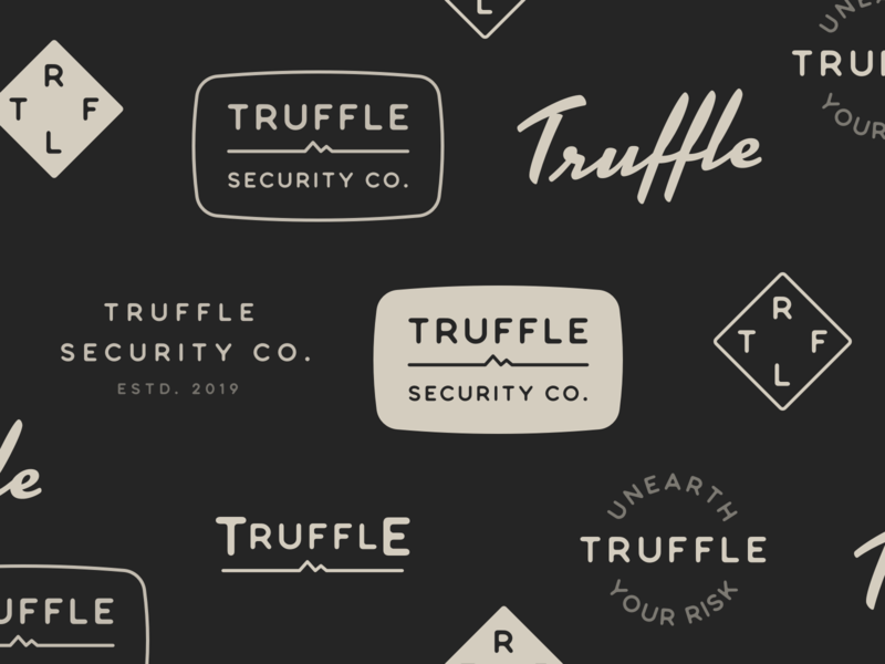 Truffle Security brand marks logo design logo cybersecurity natural outdoorsy rugged earthy eclectic badges brand identity brand design brand security truffle