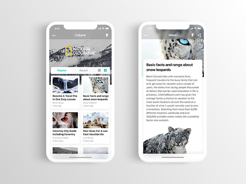 Nature Watch   Column column ui naturewatch nature mobile animal iphonex ios11 snow app