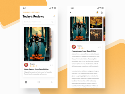 Movie Reviews App | Homepage mobile ui iphonex ios11 card movie app