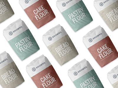 Browns Flour Packaging logo design package minimal graphic design logo logos packaging design flour wheat packaging packagedesign brand identity logo designer branding