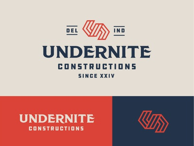 UNDERNITE CONTRUCTIONS design icon brand construction company bold logo construction logo bless creatics logo type branding illustration graphic design logo design typography logo brand identity logos logo designer