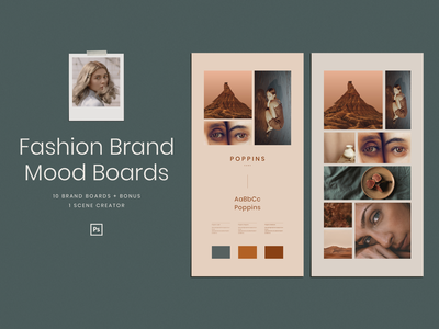 Fashion Brand Mood Boards portfolio summer vintage magazine template layout inspiration download fashion collage clean cards business brand identity blue brand branding design branding mood board moodboard