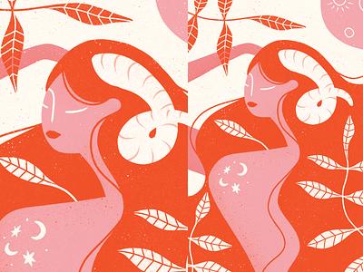 Aries season fire astrology horoscope zodiac aries sign aries illustration aries woman procreate illustration procreate illustrations illustration digital illustration art girl portrait girl character composition girl art character illustration