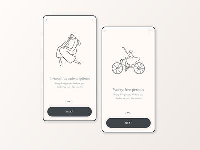 Beijeped UI & UX Design menstrual product visual design user inteface user experience mobile app design mobile ui ui mobile