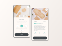 Subscription service for menstrual products mobile app design beijeped beige bamboo menstrual products subscription service mobile uiux mobile mobile ui