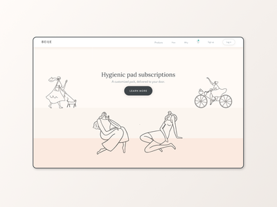 Homepage Beijeped visual design menstrual product user interface subscription service homepage ui homepage