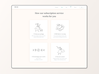 How it works Beijeped menstrual product visual design subscription service how it works minimal ui