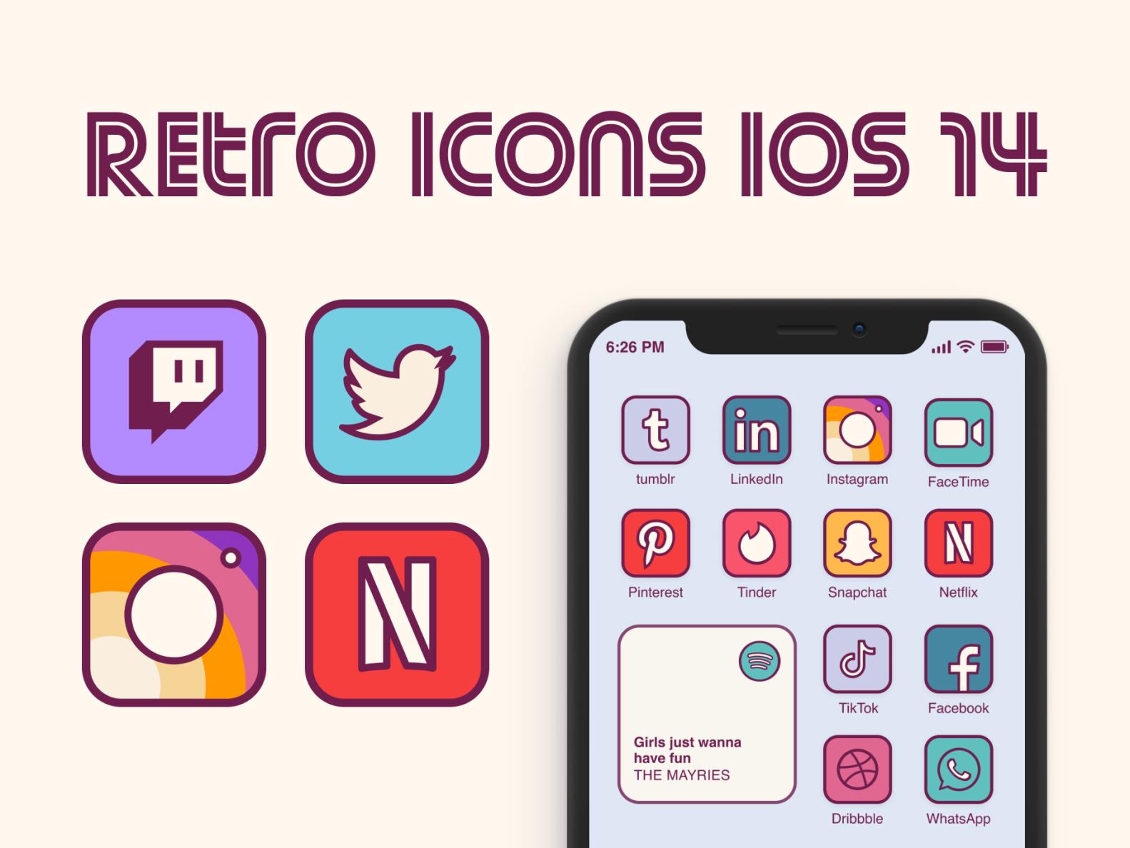 Retro icons home screen ios 14