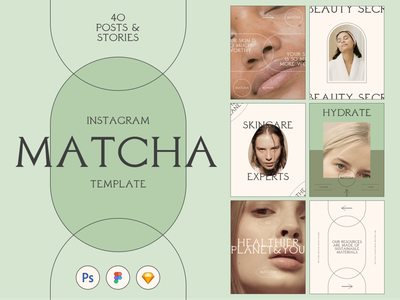 Matcha Skincare Instagram Template typography template social media templates social media pack instagram stories pack skincare matcha skincare matcha instagram templates instagram template instagram stories instagram post