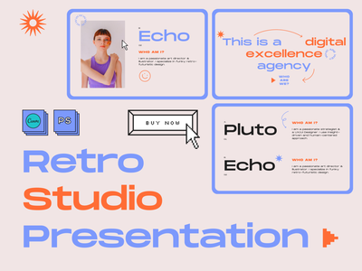 Retro Studio Presentation old school 90s 80s 70s business presentation beige orange blue psd canva retro element pixel nostalgic nostalgia retrowave lofi lo-fi retro design retro