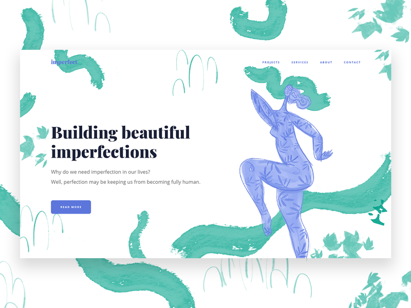 Building beautiful imperfections header ui web character illustration