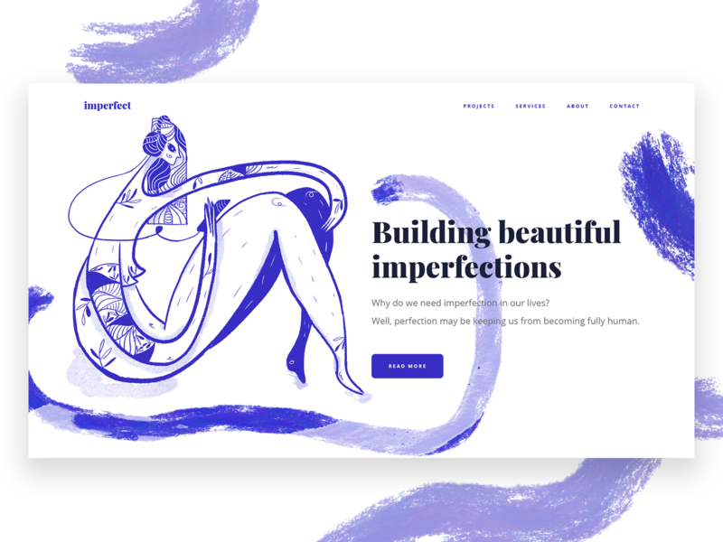 Building Beautiful imperfections series - Website Illustration hero illustration website ui digital art character