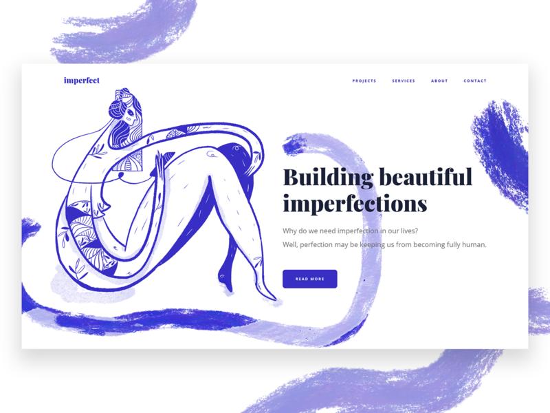 Building Beautiful imperfections series - Website Illustration hero illustration website ui digital art character