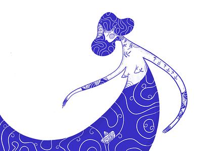 Sailing the 7 Seas lineart boat girl blue digital illustration web graphic design art ui design digital art character illustration design