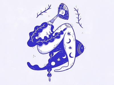 La Luna stars moon girl art ui design blue graphic design web digital art illustration character design ui luna
