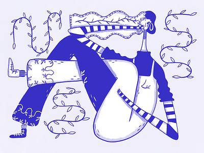 Stylish Girl cartoon 2d conceptual woman style girl art ui design blue graphic design web digital art illustration design ui character