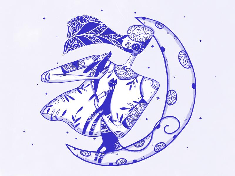 Emiluna plants flowers whale cat moon luna girl art ui design blue graphic design web digital art illustration character design ui