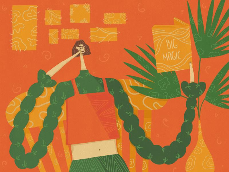 Big Magic digitalpainting drawing chair book plants yellow orange green magic big girl illustration