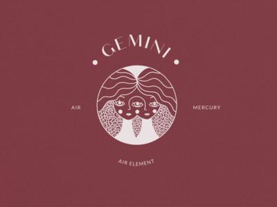 Gemini Logo Stamp Horoscope Icon