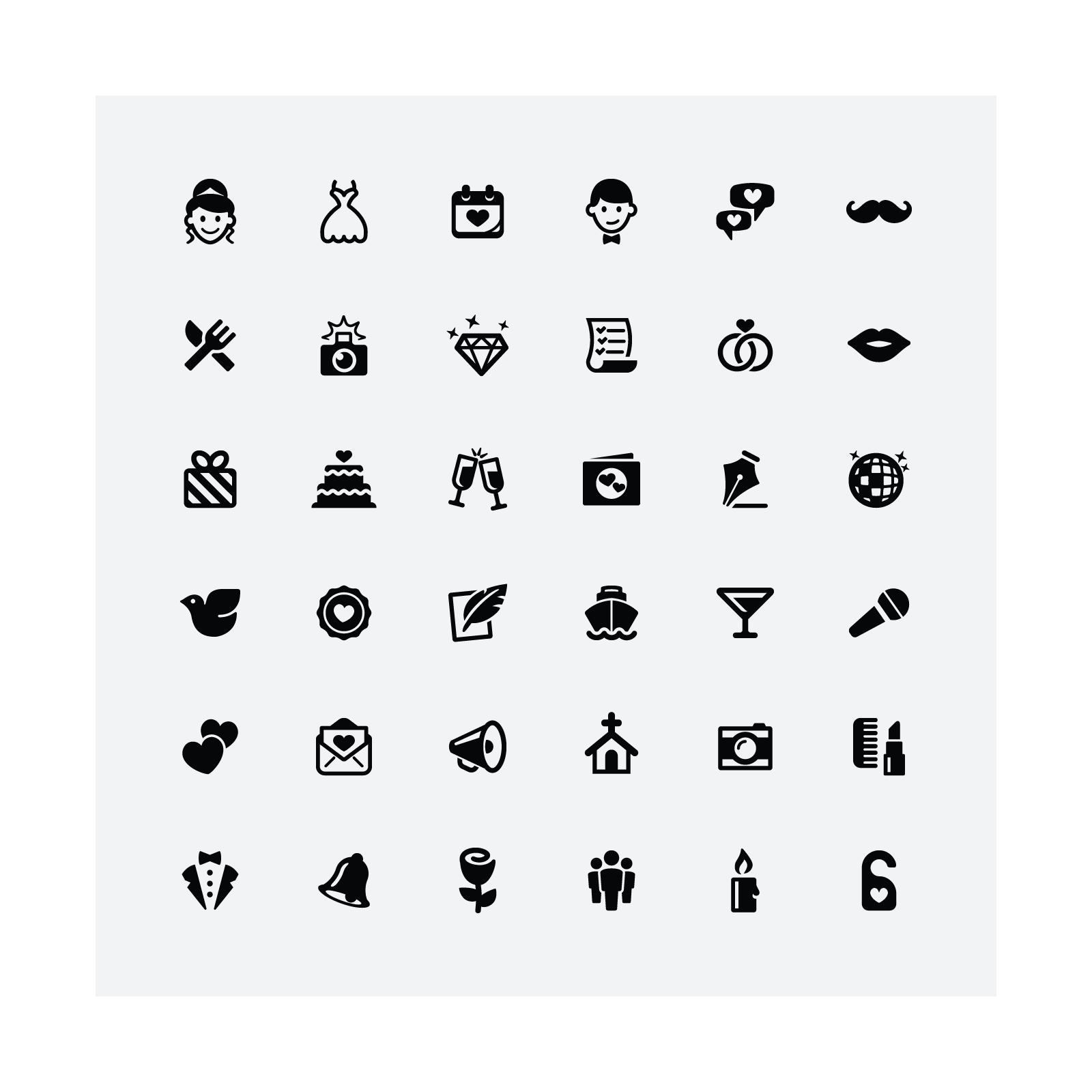 Mono icons wedding