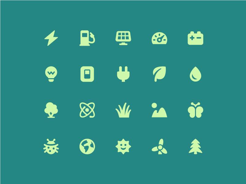 Energy + environment icons pixi vector ui environment energy icon set icons icon
