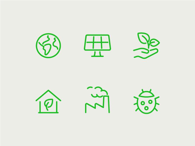 Environment icons green solar earth environment illustration vector icon set icons
