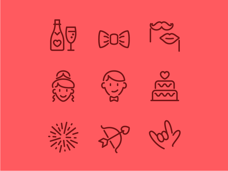 Wedding Icons line illustration vector love wedding icon set icons icon