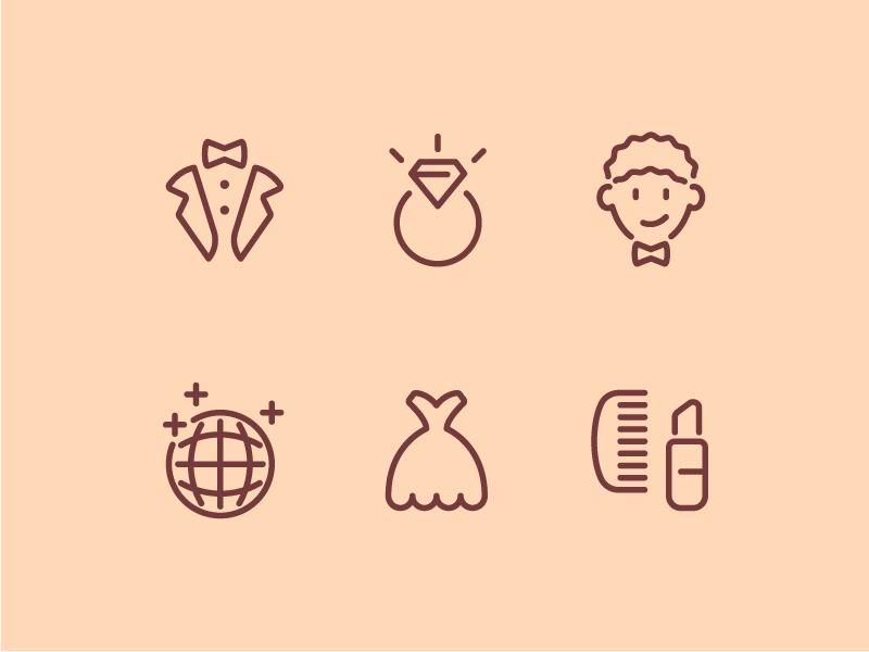 Wedding Icons icon icons icon set wedding love vector illustration line