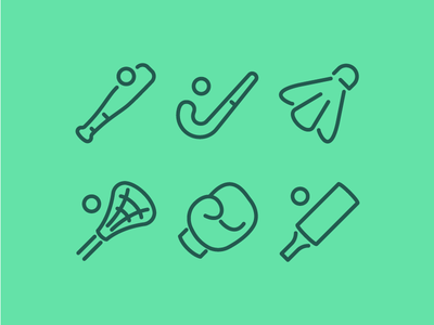 Sports Icons cricket boxing lacrosse badminton field hockey baseball sport illustration vector ui icons icon set