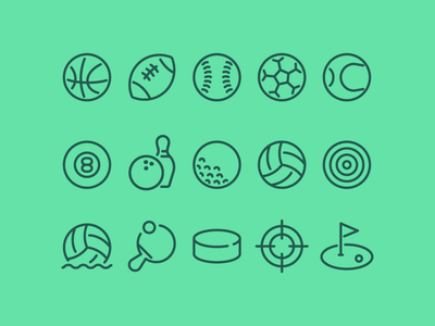 Sports Icons line icons hockey water polo volleyball golf bowling pool tennis soccer football basketball baseball sports vector icon set icon