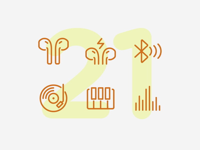 Day 21 sound airpods audio music line interface vector ui icon icons icon set