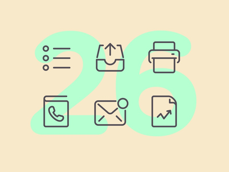 Day 26 business work office challenge design line interface vector icon ui icons icon set