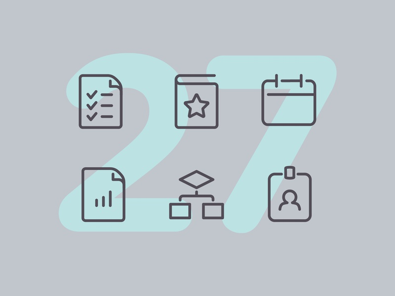 Day 27 workout business office work line interface vector icon ui icons icon set