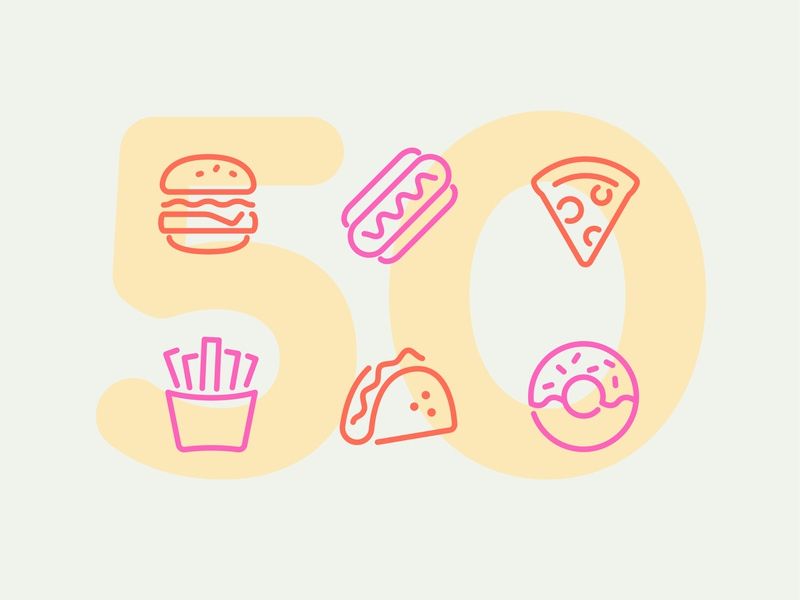 Day 50 food app junk business iphone ios pixi app illustration line interface vector icon ui icons icon set
