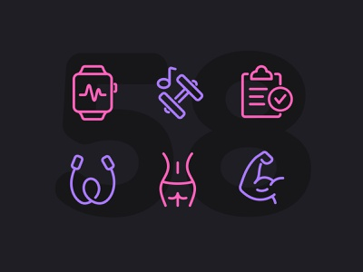 Day 58 icon set icons ui icon vector line illustration fitness workout