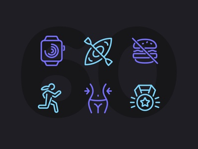 Day Six-Oh! icon set icons ui icon vector line illustration fitness workout