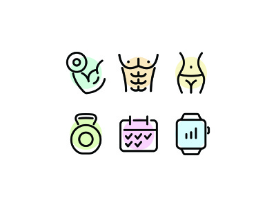 Fitness Line Icons training exercise workout fitness illustration line vector icon icons icon set