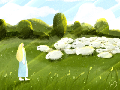Girl and sheep illustration