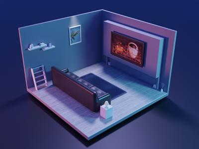 Living room at night blender