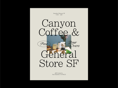 Canyon Coffee x General Store SF Flyer — No. 1 coffee type flyer