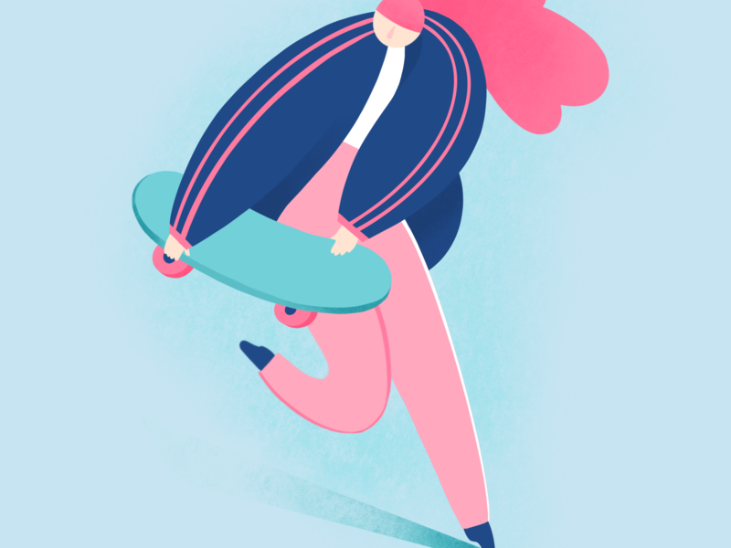 Skate Girl pink hair blue pink young editorial illustration editorial procreate run skateboard skater skate woman girl character design digital illustration illustration