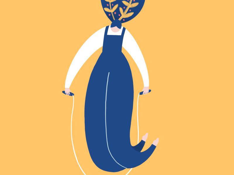 Jump Rope Girl minimal playful bloom exercise jump yellow blue leaves flowers jump rope rope editorial editorial illustration woman girl character design procreate digital illustration illustration