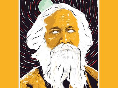 Rabindranath Tagore gurudev realheroesofindia bengali art literature ui vector illustrator digital art night illustration