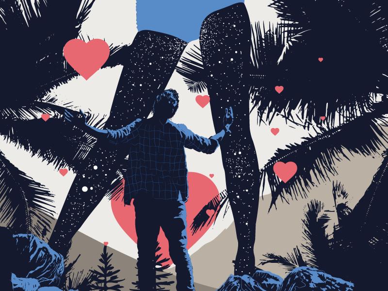 Paddi poster heart illustrator dark night mode desire vector illustration beauty digital art blue and red stars rocks palm her boy hearts legs sex night