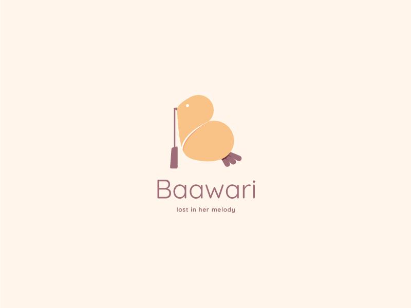 Bawaari - Logo bird logo soft pastels femenine girly bags ios android app website branding visual identity icon mark bawaari illustration vector graphic design logo